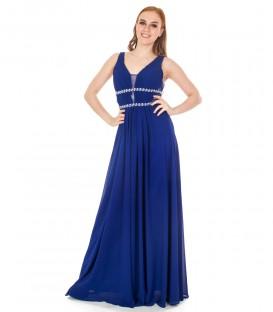 6751 Pärlite ja kivikestega sinine pikk sifoonkleit