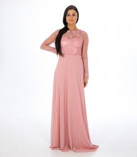 7885 Pitsvarrukaga kleit- vanaroosa
