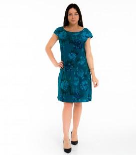 6829 Linane kleit taskutega- siniste lilledega