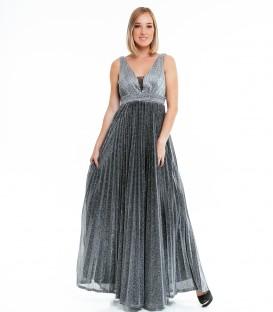 7504Sädelevast kangast pidulik kleit-hõbe