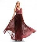 7504Sädelevast kangast pidulik kleit-bordoo